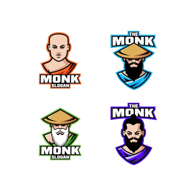 Collection of monk head character logo icon design cartoon