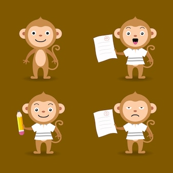 Collection of monkey in different poses education theme premium vector