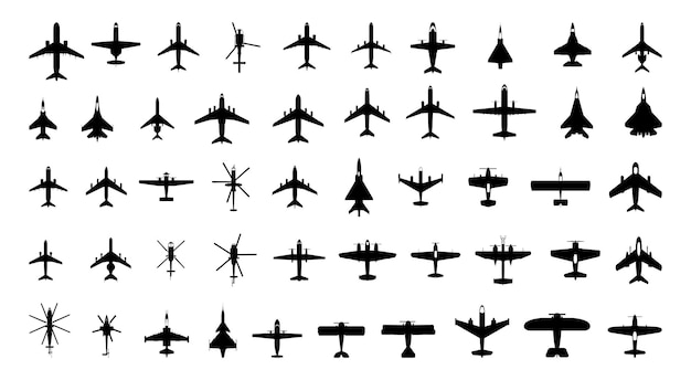 Collection of monochrome icons of aviation transport