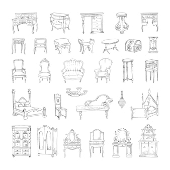 Collection of monochrome illustrations of antique furniture in sketch style