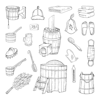Collection of monochrome illustrations of bath accessories in sketch style