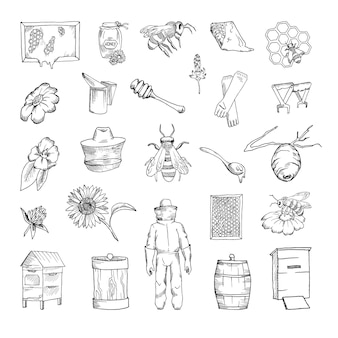 Collection of monochrome illustrations of beekeeping in sketch style