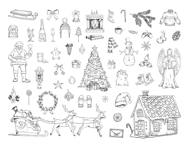 Collection of monochrome illustrations of christmas in sketch style