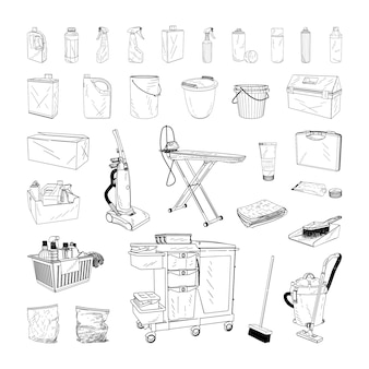 Collection of monochrome illustrations of cleaning equipment in sketch style