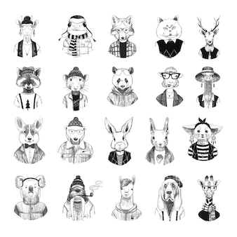 Collection of monochrome illustrations of funny animals in sketch style