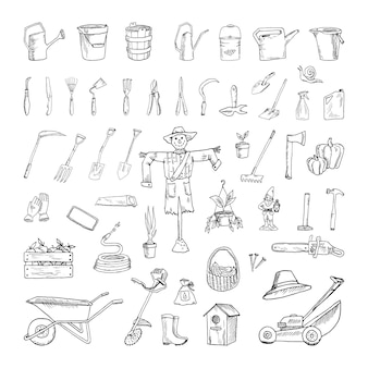 Collection of monochrome illustrations of garden tools in sketch style