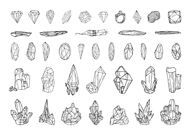 Collection of monochrome illustrations of gemstones in sketch style