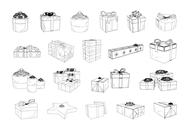 Collection of monochrome illustrations of gift boxes in sketch style