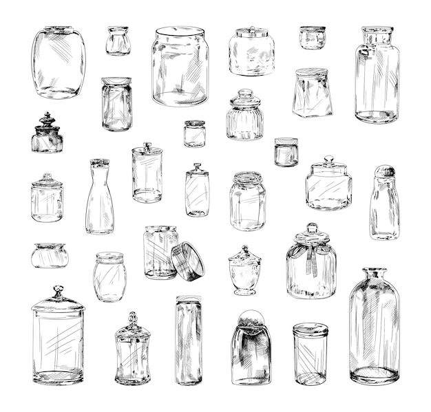 Collection of monochrome illustrations of jars in sketch style