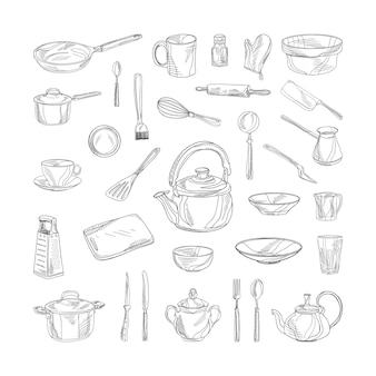 Collection of monochrome illustrations of kitchen accessories in sketch style
