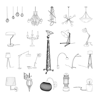 Collection of monochrome illustrations of lamps in sketch style