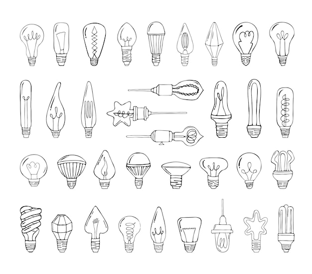 Collection of monochrome illustrations of light bulbs in sketch style
