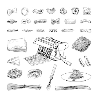 Collection of monochrome illustrations of pasta in sketch style