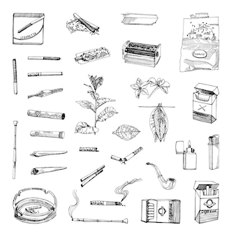 Collection of monochrome illustrations of tobacco in sketch style