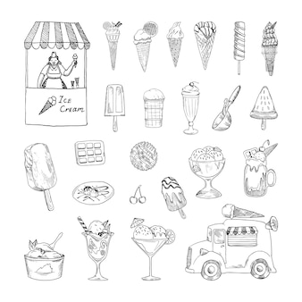 Collection of monochrome illustrations with ice cream in sketch style