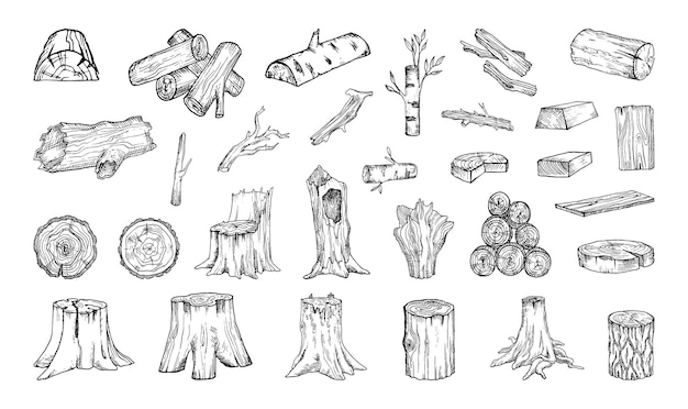 Collection of monochrome illustrations of wood raw materials in sketch style