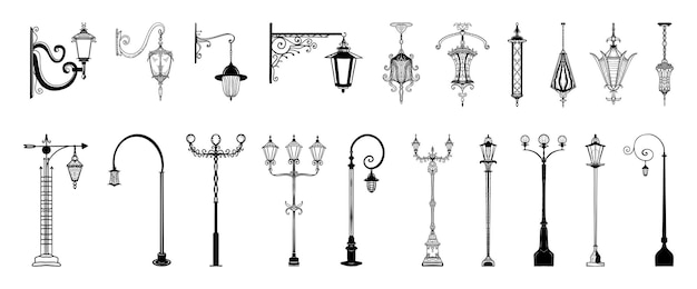Collection of monochrome lanterns in sketch style