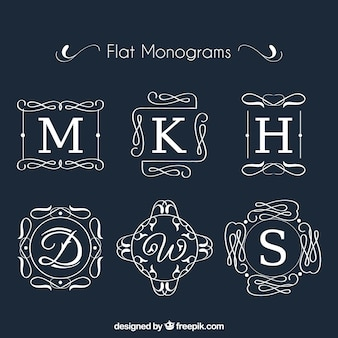 Collection of monogram in flat design