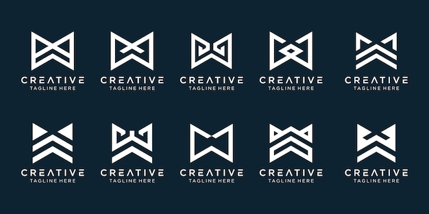 Collection monogram initials w logo template. icons for business of fashion, sport, technology, simple.