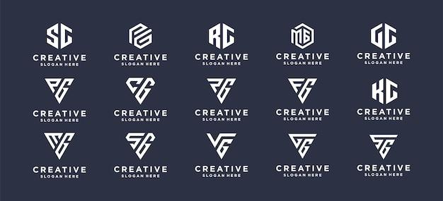 パーソナルブランド、企業、企業向けのコレクションモノグラムレターマークロゴデザイン。