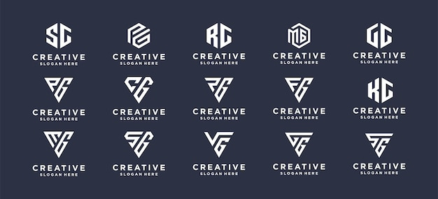 Collection monogram lettermark logo design for personal brand, corporate, company.