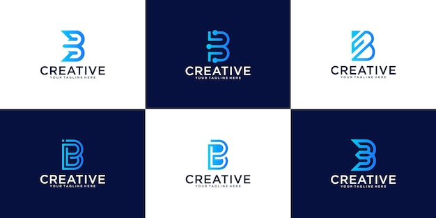A collection of monogram logo design inspiration for the letter b