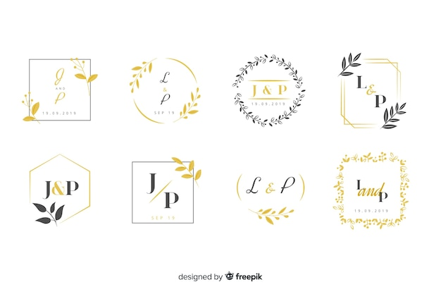 Collection of monogram logos with leaves