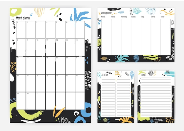 Collection of month, weekly planner, to do list and place for notes templates with colorful paint stains and brush strokes