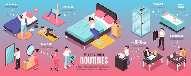 Collection of morning routines illustrations