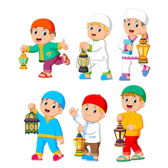 Collection of moslem kids holding lantern