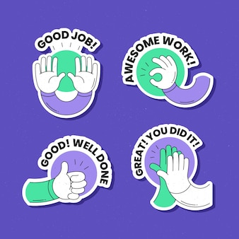 Collection of motivational great job stickers