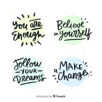 Collection of motivational lettering stickers