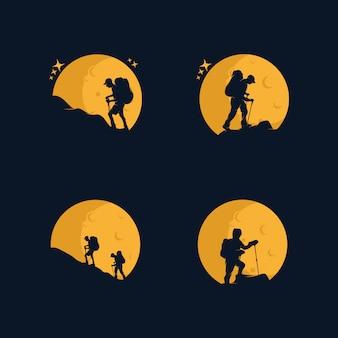 Collection of mountain climber logo set