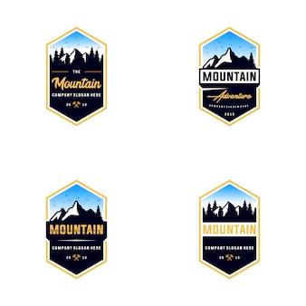 Collection of mountain outdoor logo design
