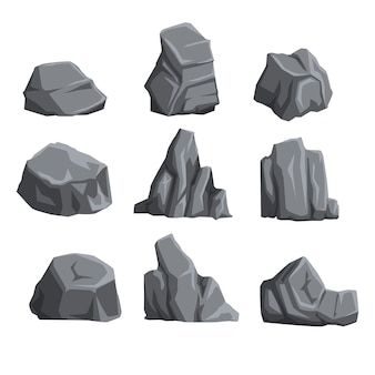 Collection of mountain stones with lights and shadows. rock landscape  elements. cartoon style boulders set.