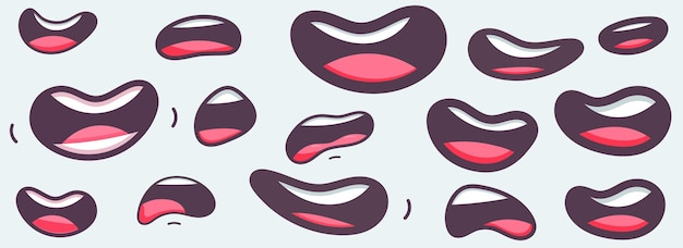 Collection of mouths cartoon