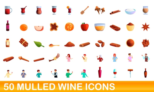 Collection of mulled wine icons isolated on white
