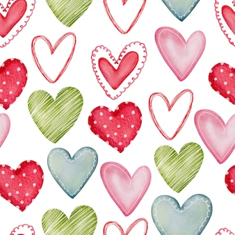 Illustrazione di cuori multicolore di raccolta. pittura floreale pennello disegnato a mano. stile romantico di san valentino.