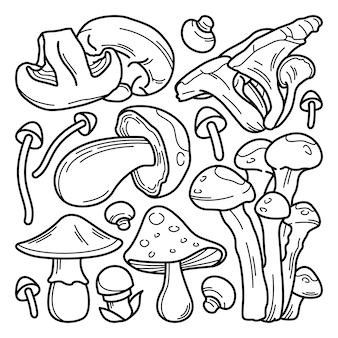Collection of mushroom doodle