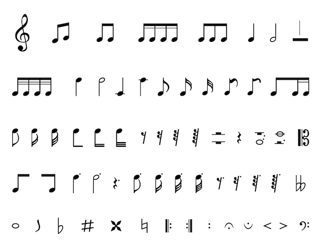 Collection of a musical notes Free Vector
