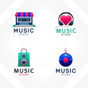 Collection of musical store logos for companies in gradient style
