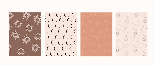 Collection of mystical patterns, hands and moon, sun and stars, in boho style
