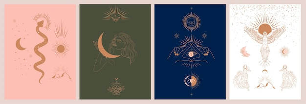 Collection of mythology and mystical illustrations in hand drawn style. fantasy animals, mythical