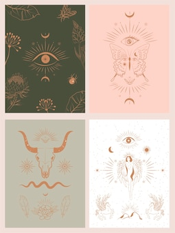 Collection of mythology and mystical poster illustrations in hand drawn style.