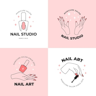 Collection of nails art studio logos