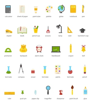 Collection of named cute colorful kawaii school supplies.