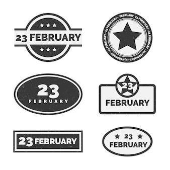 Collection of national day defender labels