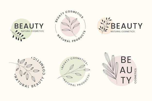 Collection of natural cosmetics logos
