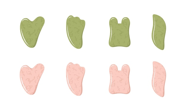 Collection of natural pink quartz and green nephrite stones