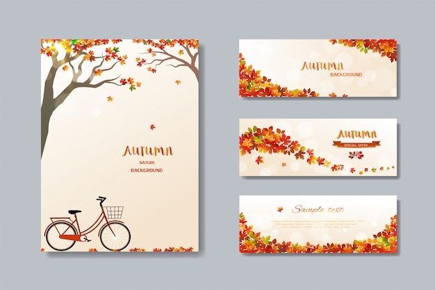 Collection of nature autumn sale banner with colorful leaves